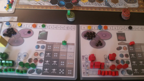 An early image of a prototype of a Space version of Terra Mystica